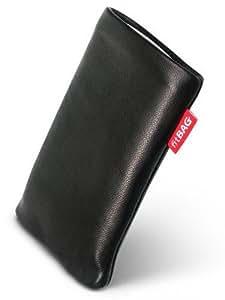 fitBAG Beat Schwarz Handytasche Tasche aus Echtleder Nappa mit Microfaserinnenfutter für Motorola K3 MOTOKRZR