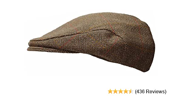 ddcf9cc5917 Mens Derby Tweed Flat Cap Teflon Coated Hat by WWK   WorkWear King   Amazon.co.uk  Clothing