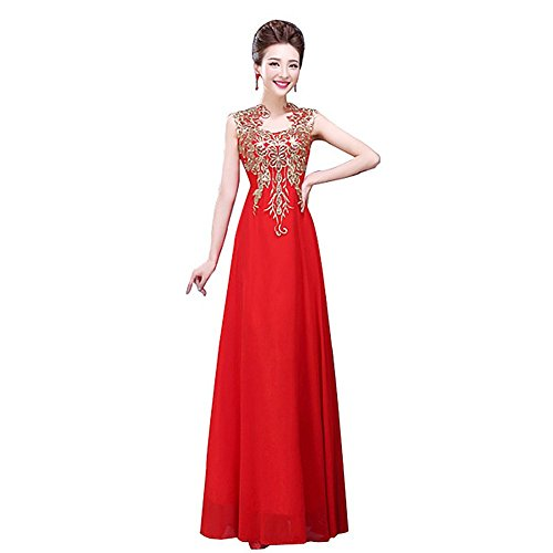 Drasawee Damen Empire Kleid Rot