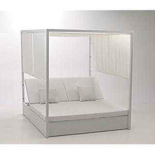 Bed balinesa Rattan Aluminium White