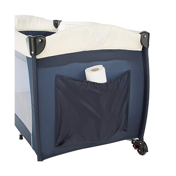 TecTake Portable Child Baby Travel Cot Bed Playpen with Entryway and Toys New - Different Colours - (Blue   No. 402201) TecTake Suitable for children up to an age of 36 months Bed Size: 128 cm length, 67 cm width, 81 cm height Changing mat: 68 cm length, 51 cm width 4