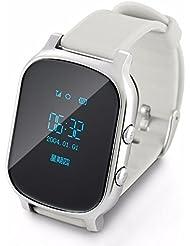 GPS Tracker sehen für Kinder Ältere Armband Knöpfen GPS Google Map SOS GPS Armband Personal Tracker GPS GSM Locator T58 Uhr für IOS android (Silber)