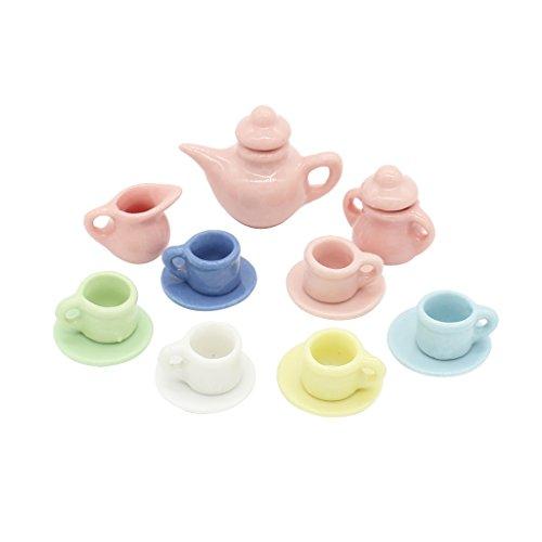 Gazechimp 9er/ Set 1:12 Puppenhaus Miniatur Porzellan Teeservice Tee Set - Mehrfarbig