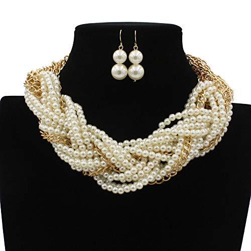 Schmuckset Fashion Multi-Layer Woven Pearl Halskette Twisted Woven Pearl Short Female Neck Chain Schlüsselbein Kette und Ohrringe Set Schmuckset für Damen (Color : White, Size : Free Size) - Mehr Woven Short