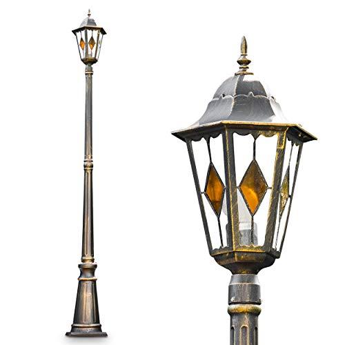 Außenleuchte Antibes, Stehleuchte in antikem Look, Aluguß in Braun/Gold mit Klarglas-Scheiben, Wegeleuchte 210 cm, E27-Fassung, max. 60 Watt, Retro/Vintage Gartenlampe IP44