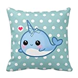 TKMSH Cute Baby Narwhal On Polka Dots Pillow Cover Holiday Pillowcases for Couch Sofa Or Bed Set Cozy Home Decor Size:18 X 18 Inches/45cm x 45cm