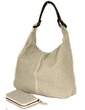 Shopper, Beutel Flechtoptik ( geflochten) XL (41/ 33/11 cm) Tote Bag Mod. 2038 ,echtes Leder Italy
