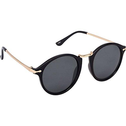Black Lens Golden Black Frame Round Sunglasses for Men and Women