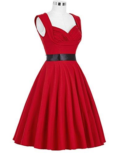 GRACE KARIN Frauen-Weinlese-Abschlussball-Kleid-Sleeveless Schwingen-Kleid Rot(CL8948-2)