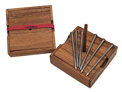 ROMBOL Schwebende Nägel - EIN Geschicklichkeitsspiel mit Einer überraschenden Lösung, Holzspiel, Denkspiel, Knobelspiel, Geduldspiel aus Holz