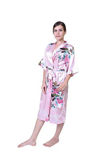 Keynis Damen Morgenmantel Kimono Robe Bademantel Nachtwäsche Lange ...