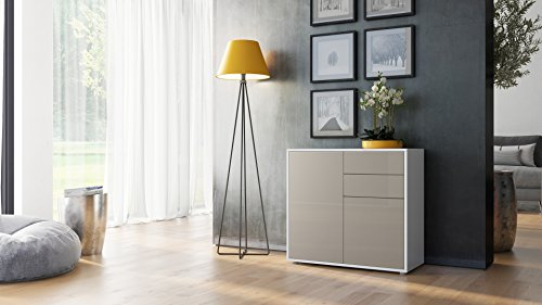 Cabinet Chest of Drawers Ben, Carcass in White High Gloss / Front in Sand grey High Gloss