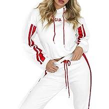 2afc5181a72a Conjuntos Deportivos Verano Mujer Camiseta Casual Manga Corta Cordones  Pantalones Largos Ajustados Color Puro Cintura Elástica