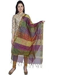 Dupatta Bazaar Women's Multicoloured Printed Cotton Silk Dupatta
