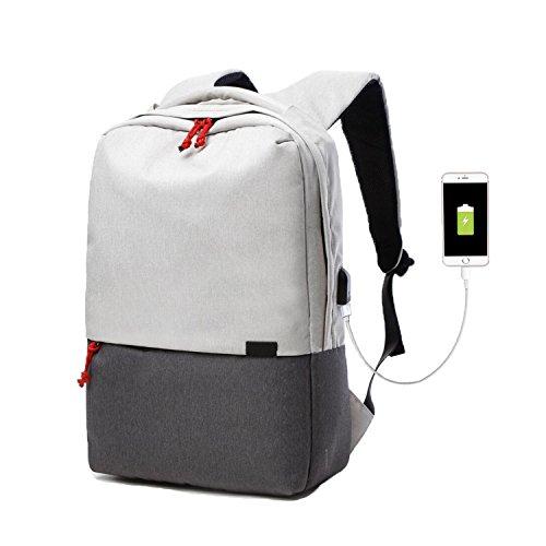 """Valleycomfy Laptop Rucksack Damen/Herren (Passen 15.6"""" Laptop) Leinwand Tasche Mit USB Lade-Schnittstelle Für Freizeit/Business/Travel Umhängetaschen (Beige Grauen)"""