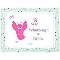 Schutzengel für Baby | Geschenk zur Geburt, Taufe oder Geburtstag | Rosa Bild für Mädchen (DIN A5)