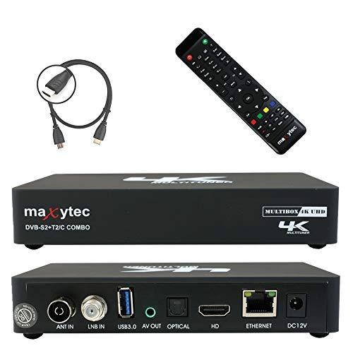 Maxytec Multibox 4K UHD 2160p H.265 HEVC Android & E2 Linux, 8GB Flash, USB3.0, DVB-S2 Sat & DVB-T2/C Combo Tuner Receiver Schwarz - 8 Gb Nand-flash