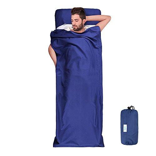 Sable lenzuolo sacco a pelo portatile e leggero per campeggio, escursioni, trekking, montagna, picnic, treno e albergo, comprende una sacca da trasporto per viaggo