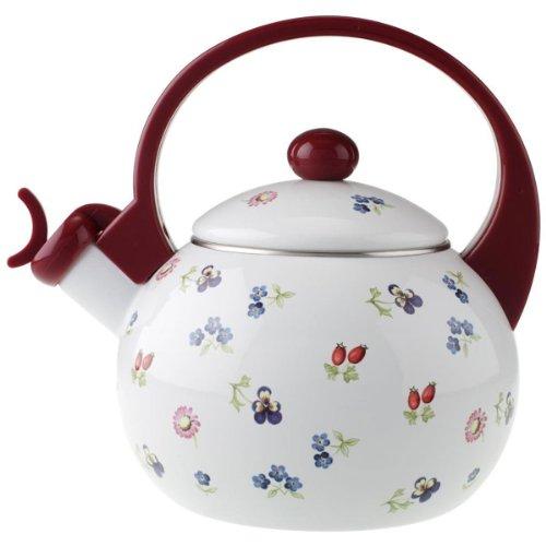 Villeroy & Boch Petite Fleur Kitchen Teekessel, Kessel mit floralem Blumendruck im Landhausstil, emaillierter Stahl, Handwäsche