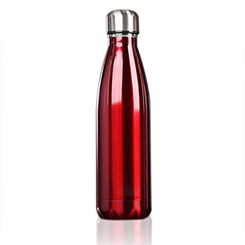 OUTAD 500ml Botella Térmica en Acero Inoxidable Forma de Bolos/Bowling (Rojo)