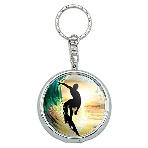 Portable Travel Größe Pocket Geldbörse Aschenbecher Schlüsselanhänger Sport und Hobby Wave Surfing Ocean Beach Surfer Sunset (Ocean Aschenbecher)