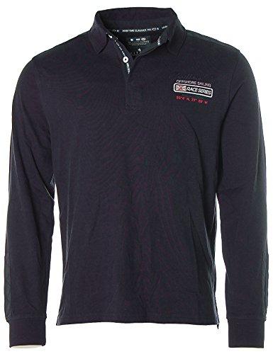 Kitaro Herren Langarm Shirt Poloshirt -Caribbean Sea- Navy