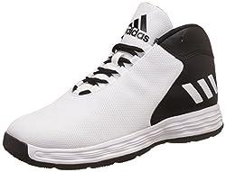 adidas Mens Hoopsta Black and White Leather Basketball Shoes - 10 UK/India (44.67 EU)