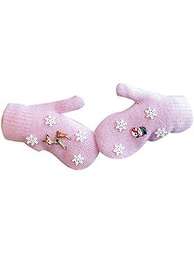 Modelos Femeninos Navidad Alce Niño Guantes DIY Mitones Conejo,Pink