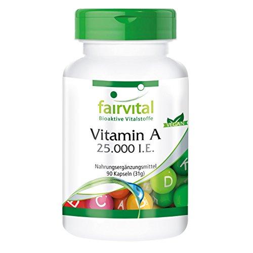 fairvital - 90 cápsulas de vitamina A (25.000 I.E.) - Sustancia pura altamente concentrada - Ideal como suplemento