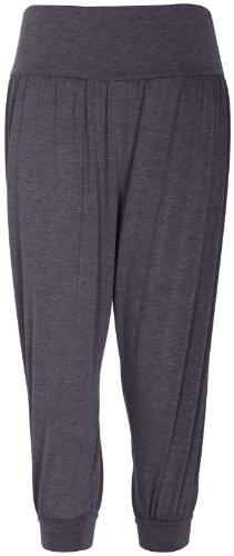 Da donna colore 3/4ali Baba larghi da donna, pantaloncini a elastico arricciato in vita harem pantaloni leggings Grigio scuro
