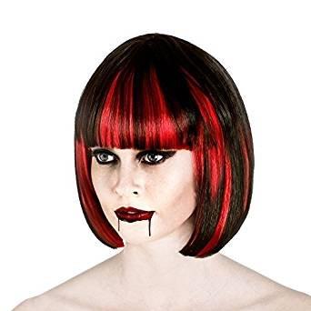 Damen Vampir Schwarz und Rot Halloween-Perücke