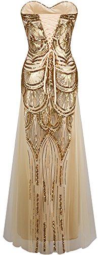 Angel-fashions Damen Paillette Tragerlos Schatz Gitter Schnuren Bankett-Kleid XXLarge Gold - 2