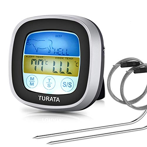 TURATA Digitales Bratenthermometer, Grillthermometer BBQ Digital Thermometer Doppelsonde Berühren Fleisch Thermometer mit LCD-Display