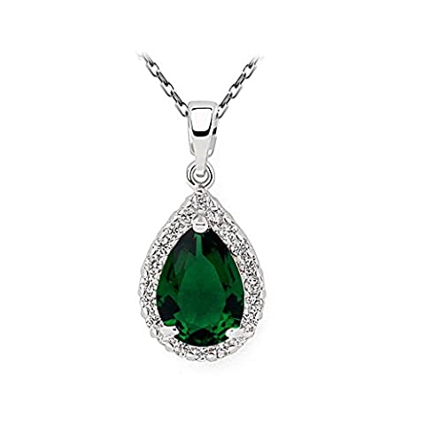 Beydodo White Gold Plating Necklaces for Women(Pendant Necklace),Pear Prong CZ Oval Link Chain