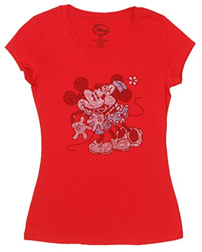 Exklusive Juniors Mickey & Minnie Smooching Strass T-Shirt rot gro?