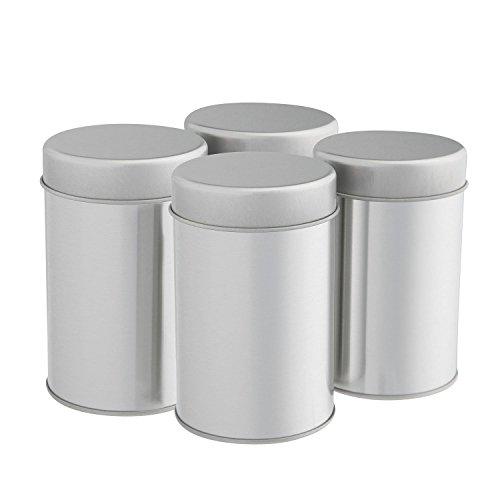 TEE Dosen Kanister Set mit luftdicht Double Deckel für losen Tee-Kleine Küche Kanister für Tee Kaffee Zucker, lose Teeblätter Dose, Container von silveronyx Set of Four silber (Tee-kaffee-set Silber)