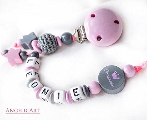 Preisvergleich Produktbild Schnullerkette mit Namen -Mädchen- Geschenk für Baby Prinzessin Rosa Grau