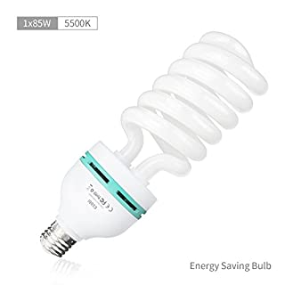 ESDDI Photography Tri-phosphor Spiral CFL Daylight Balanced Pure White Light Bulb with 5500K Color Temperature for Photo and Video Studio Lighting, 1x 85W