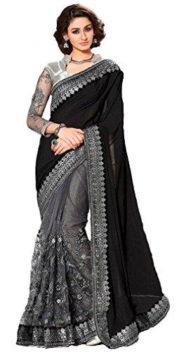 I-Brand Women's Georgette Saree With Blouse Piece (Isunsa1896_Black)