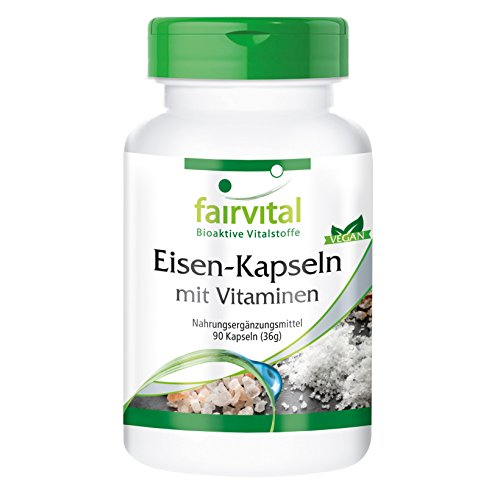 Eisen-Kapseln plus Vitamin C, Biotin u. B12, vegan, ohne Siliciumdioxid, 90 Kapseln für 3 Monate - Nahrungsergänzung für Blut, Leistungsfähigkeit und Immunsystem (Eisen-supplement Wasser)