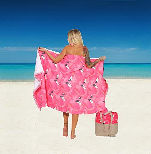 Naturawalk Frottee Hamamtuch 100% BIO Baumwolle Strandtuch, Saunatuch, Pestemal, Pareo, Badetuch in einem - Farbe Emilia, Grösse 96x180 cm + Badetasche (Bio-baumwolle Unterlage)