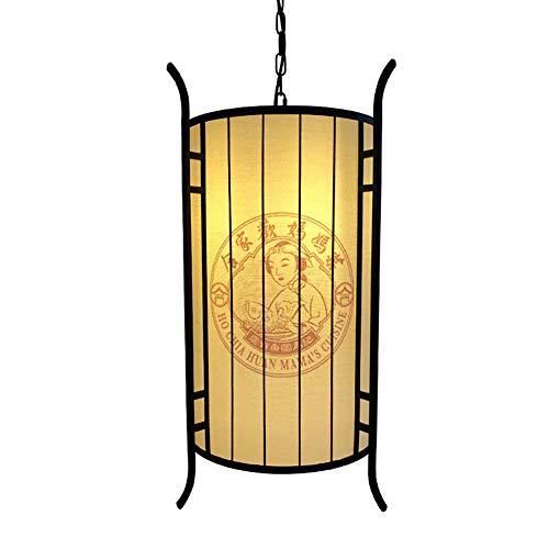 DECORATZ Antike Schmiedeeisen Laterne Kronleuchter, Neue Chinesische Art LED Pendelleuchte Kreative Restaurant Leinen Lampenschirm Dekoration Droplight E27 Schraube Licht-D40*H60CM