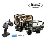 Camion Militaire télécommande avec Tente, Voiture RC US Army Camuck RTR, véhicule rampeur armée armée armée vehilce modèle Jouet pour Enfants Cadeau, 1 Battery