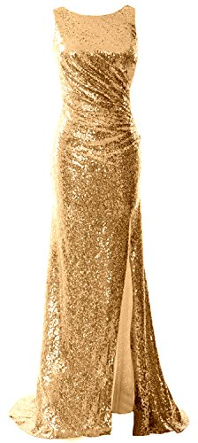 MACloth Women Cowl Back Sequin Long Bridesmaid Dress with Slit Maxi Prom Dress gold