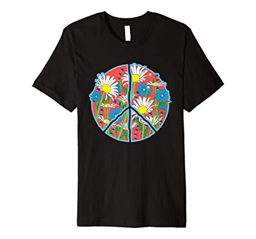 Blumenfriedenszeichen-T-Shirt - Retro Gänseblümchen-Blumen-
