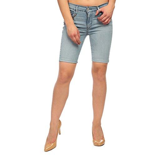 Estrolo Pocket Detailled Blue Women's Shorts