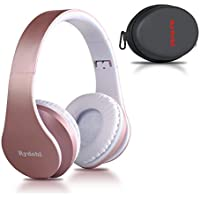 Wireless Bluetooth Headphones Over Ear, Rydohi Hi-Fi Stereo Headset with Deep Bass, Foldable and Lightweight, Wired and Wireless Modes Built in Mic for Cell Phones, TV, PC and Traveling (Rose Gold)