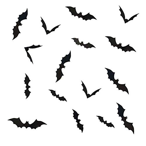 BESPORTBLE Halloween Fledermaus 3D Aufkleber Wand Fenster Tür Dekorative Abziehbilder Halloween Dekoration Party Supplies, 36PCS