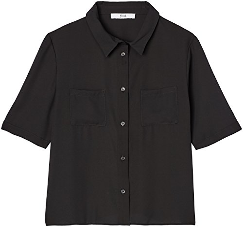 FIND Damen Bluse mit kurzen Ärmeln Schwarz, 36 (Herstellergröße: Small)
