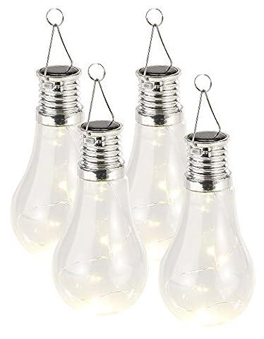 Lunartec LED-Solar-Hängeleuchten: 4er-Set Solar-LED-Lampen in Glühbirnen-Form, 3 warmweiße LEDs, 2
